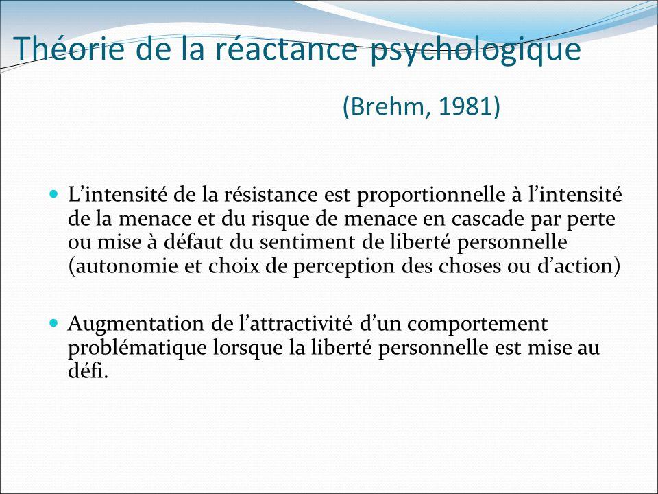 Théorie de la réactance psychologique (Brehm, 1981) Lintensité de la résistance est proportionnelle à lintensité de la menace et du risque de menace e