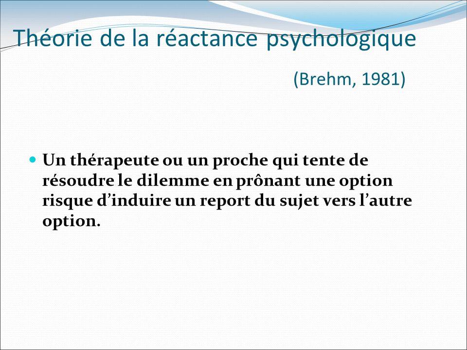 Théorie de la réactance psychologique (Brehm, 1981) Un thérapeute ou un proche qui tente de résoudre le dilemme en prônant une option risque dinduire
