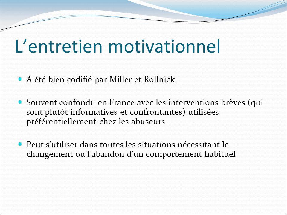A été bien codifié par Miller et Rollnick Souvent confondu en France avec les interventions brèves (qui sont plutôt informatives et confrontantes) uti