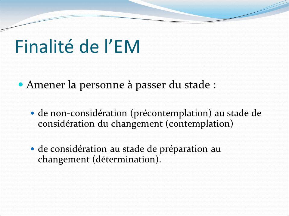 Finalité de lEM Amener la personne à passer du stade : de non-considération (précontemplation) au stade de considération du changement (contemplation)