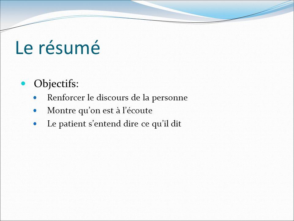 Le résumé Objectifs: Renforcer le discours de la personne Montre quon est à lécoute Le patient sentend dire ce quil dit