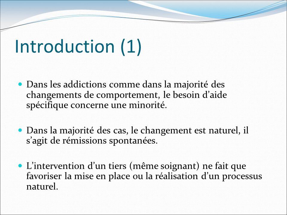 Introduction (1) Dans les addictions comme dans la majorité des changements de comportement, le besoin daide spécifique concerne une minorité. Dans la