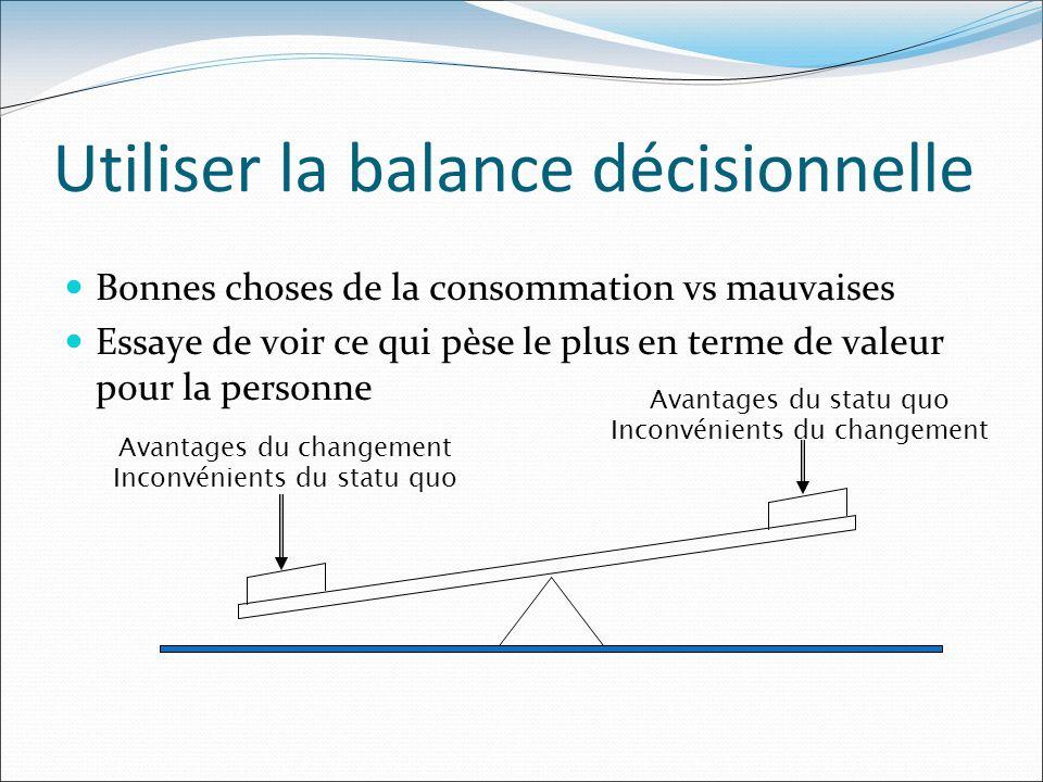 Utiliser la balance décisionnelle Bonnes choses de la consommation vs mauvaises Essaye de voir ce qui pèse le plus en terme de valeur pour la personne