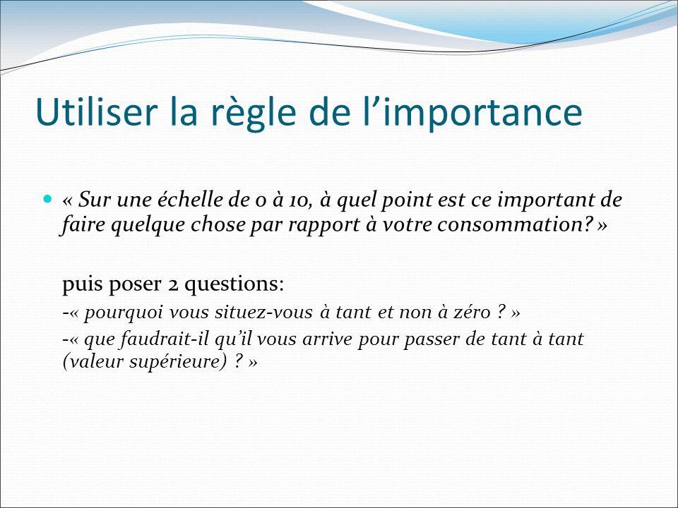 Utiliser la règle de limportance « Sur une échelle de 0 à 10, à quel point est ce important de faire quelque chose par rapport à votre consommation? »