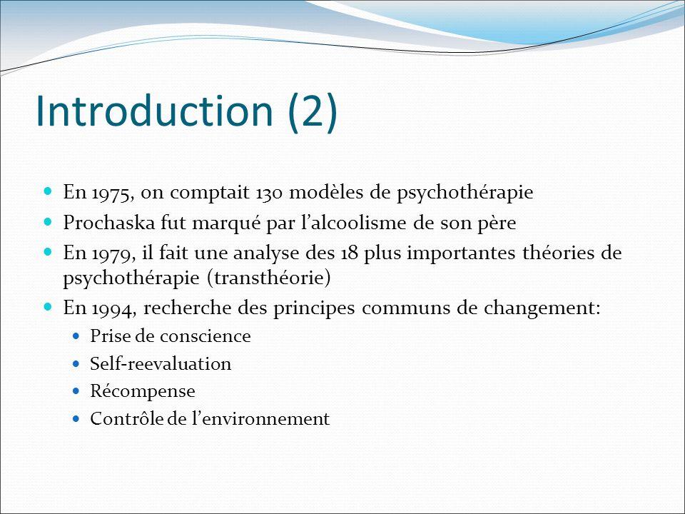 Introduction (2) En 1975, on comptait 130 modèles de psychothérapie Prochaska fut marqué par lalcoolisme de son père En 1979, il fait une analyse des