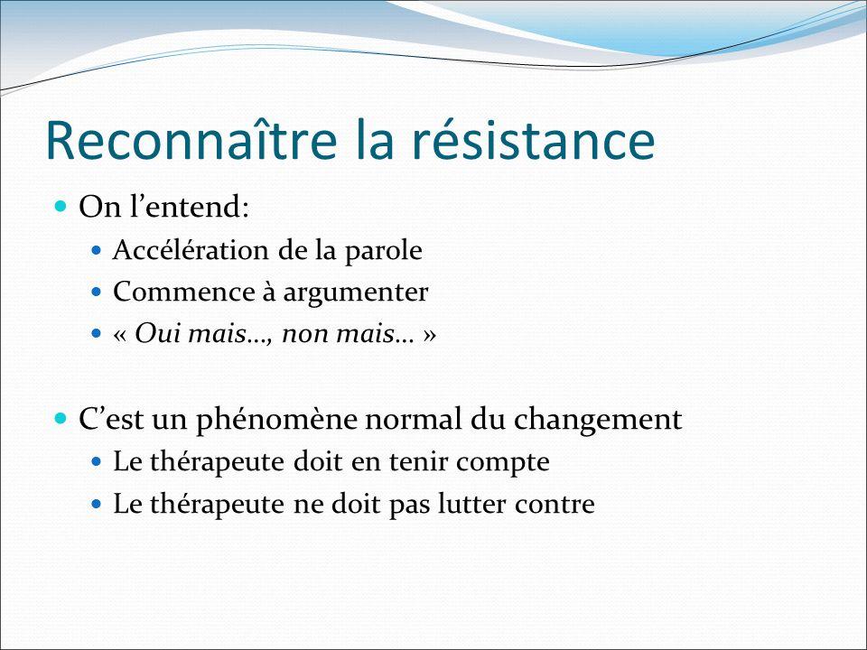 Reconnaître la résistance On lentend: Accélération de la parole Commence à argumenter « Oui mais…, non mais… » Cest un phénomène normal du changement