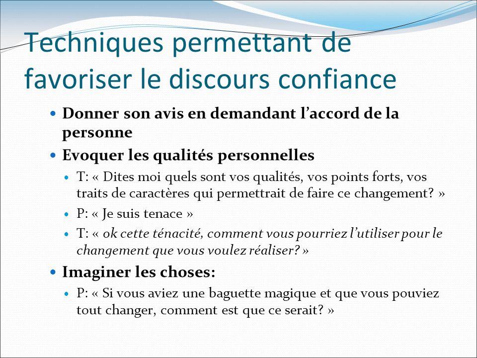 Techniques permettant de favoriser le discours confiance Donner son avis en demandant laccord de la personne Evoquer les qualités personnelles T: « Di
