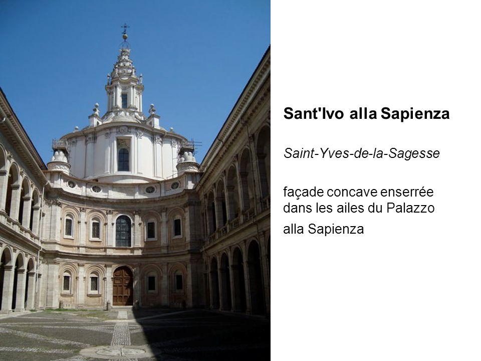Sant'Ivo alla Sapienza Saint-Yves-de-la-Sagesse façade concave enserrée dans les ailes du Palazzo alla Sapienza