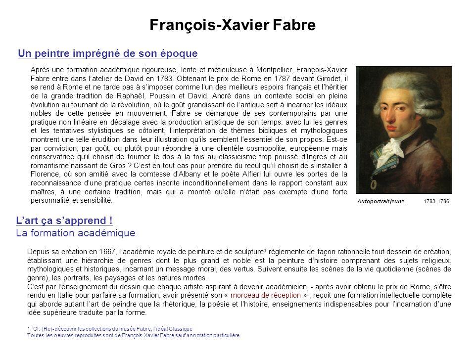 François-Xavier Fabre Un peintre imprégné de son époque Après une formation académique rigoureuse, lente et méticuleuse à Montpellier, François-Xavier