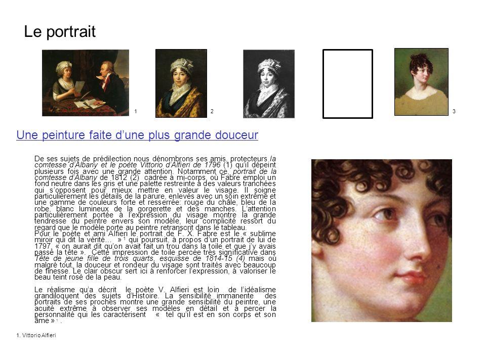 Une peinture faite dune plus grande douceur De ses sujets de prédilection nous dénombrons ses amis, protecteurs la comtesse dAlbany et le poète Vittor