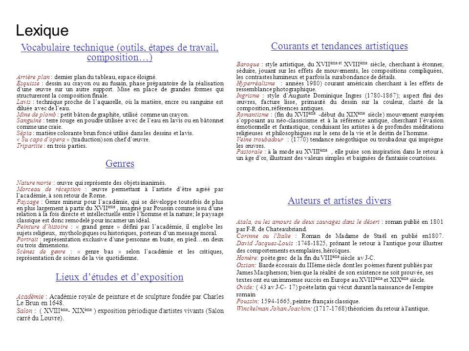Lexique Vocabulaire technique (outils, étapes de travail, composition…) Arrière plan : dernier plan du tableau, espace éloigné. Esquisse : dessin au c