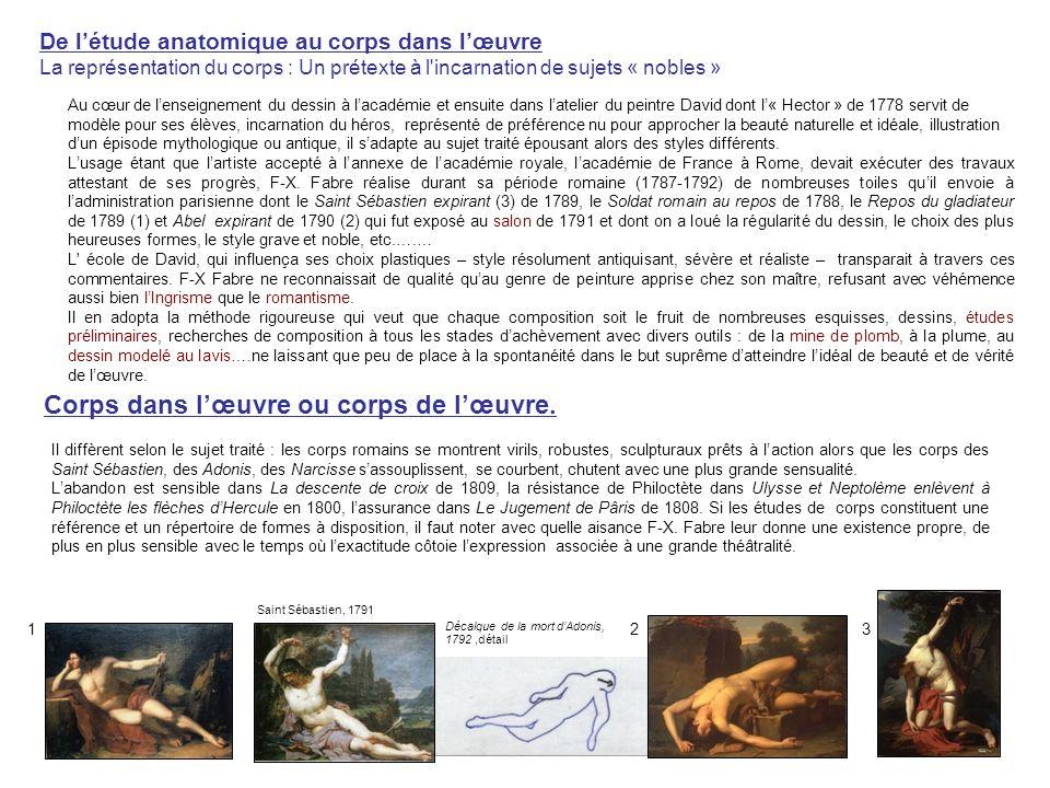 Le peintre dhistoire Notons que le point de tension crée par David à lentrecroisement des pieds est repris par Fabre dans de nombreuses compositions, comme par exemple: -dans « Marius et le Gaulois », esquisse, 1796, qui renvoie également à Drouais.