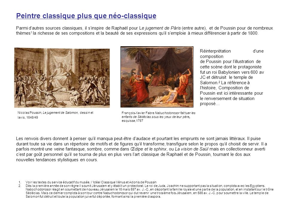 Nicolas Poussin, Le jugement de Salomon, dessin et lavis, 1648/49 François-Xavier Fabre Nabuchodonosor fait tuer les enfants de Sédécias sous les yeux
