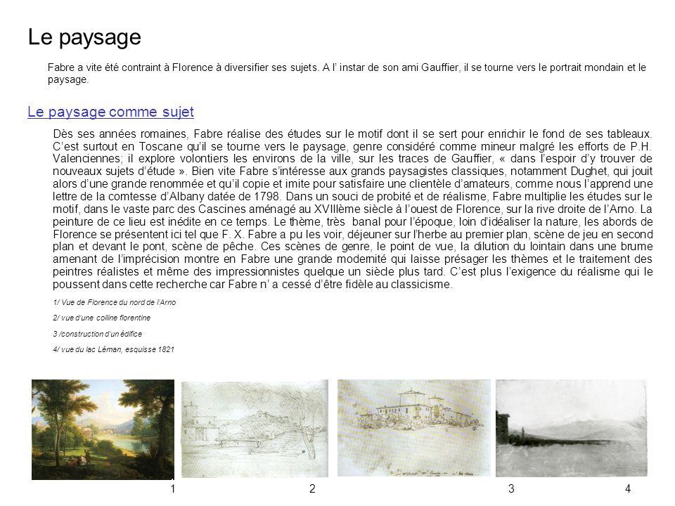 Le paysage Le paysage comme sujet Dès ses années romaines, Fabre réalise des études sur le motif dont il se sert pour enrichir le fond de ses tableaux
