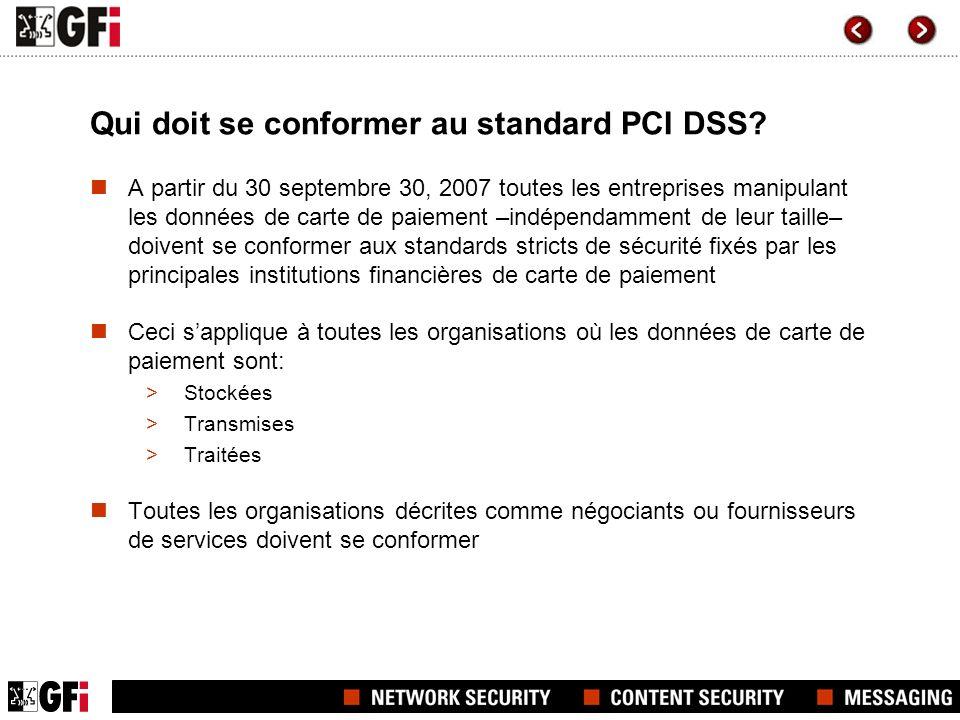 Qui doit se conformer au standard PCI DSS? A partir du 30 septembre 30, 2007 toutes les entreprises manipulant les données de carte de paiement –indép