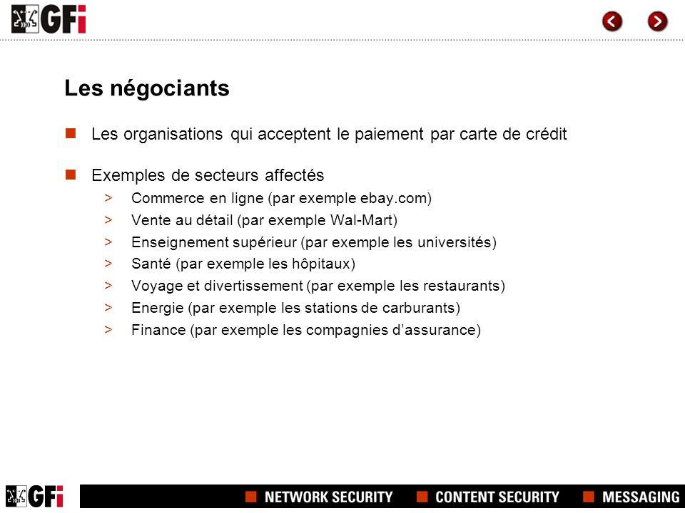 Les négociants Les organisations qui acceptent le paiement par carte de crédit Exemples de secteurs affectés >Commerce en ligne (par exemple ebay.com)