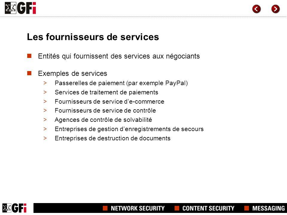 Les fournisseurs de services Entités qui fournissent des services aux négociants Exemples de services >Passerelles de paiement (par exemple PayPal) >S