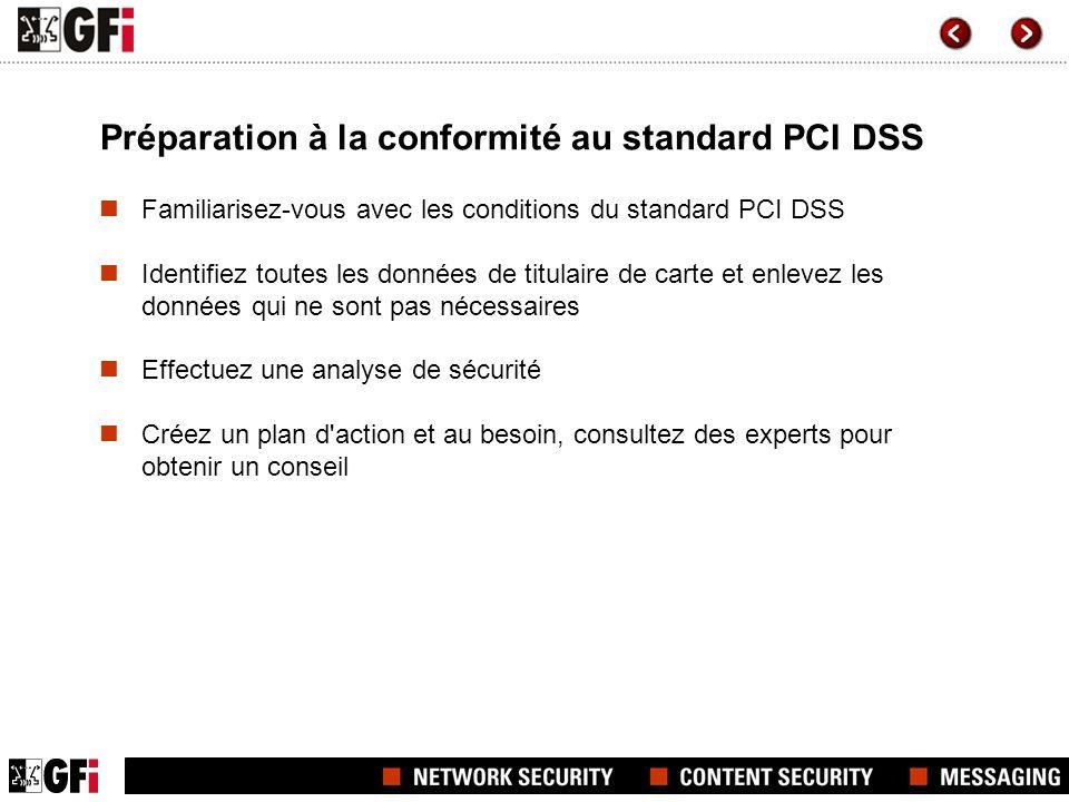 Préparation à la conformité au standard PCI DSS Familiarisez-vous avec les conditions du standard PCI DSS Identifiez toutes les données de titulaire d