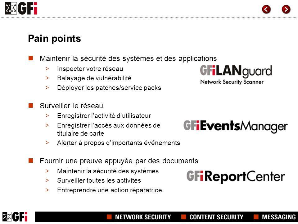 Pain points Maintenir la sécurité des systèmes et des applications >Inspecter votre réseau >Balayage de vulnérabilité >Déployer les patches/service pa