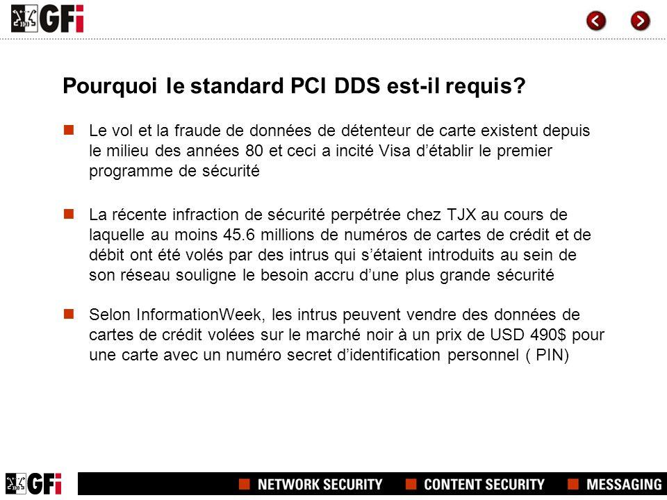 Pourquoi le standard PCI DDS est-il requis? Le vol et la fraude de données de détenteur de carte existent depuis le milieu des années 80 et ceci a inc