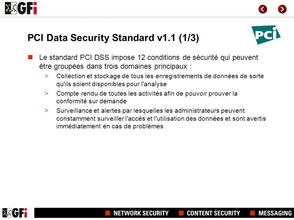 PCI Data Security Standard v1.1 (2/3) Catégories du standard PCI DSS Le cadre du standard PCI DSS consiste également de six catégories suivantes : Construire et maintenir une infrastructure sécurisée Protéger les données de propriétaire de carte de paiement Maintenir un programme de gestion des vulnérabilités Maintenir une politique de sécurité dinformation Surveiller et tester régulièrement les réseaux d information Implémenter des mesures strictes de contrôles d accès