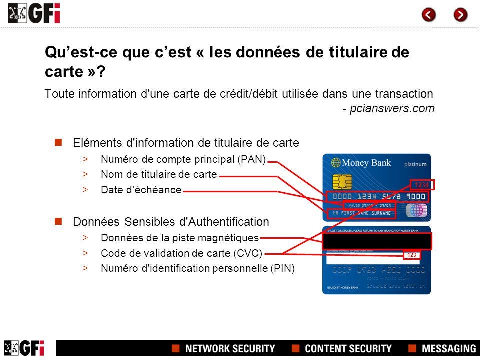 Toute information d'une carte de crédit/débit utilisée dans une transaction - pcianswers.com Eléments d'information de titulaire de carte >Numéro de c