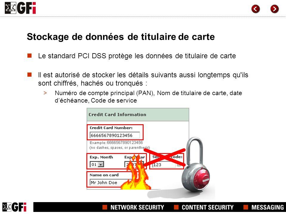 Stockage de données de titulaire de carte Le standard PCI DSS protège les données de titulaire de carte ll est autorisé de stocker les détails suivant