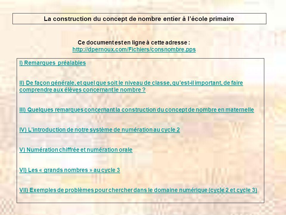 La construction du concept de nombre entier à lécole primaire Ce document est en ligne à cette adresse : http://dpernoux.com/Fichiers/consnombre.pps h