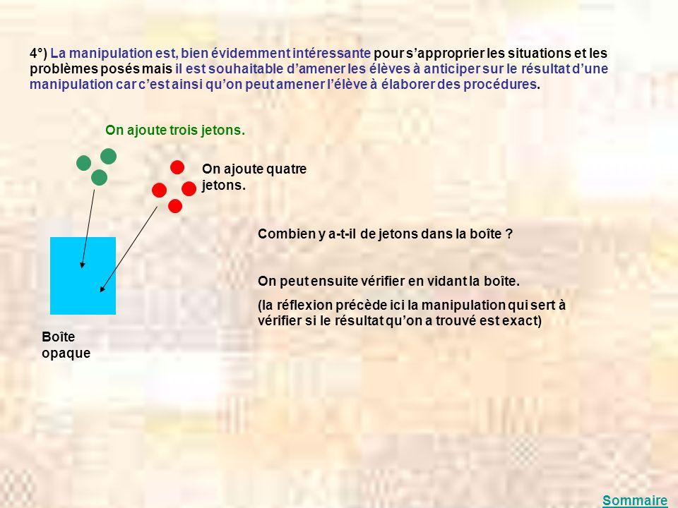 4°) La manipulation est, bien évidemment intéressante pour sapproprier les situations et les problèmes posés mais il est souhaitable damener les élève