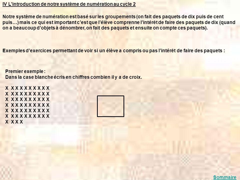 IV Lintroduction de notre système de numération au cycle 2 Notre système de numération est basé sur les groupements (on fait des paquets de dix puis d