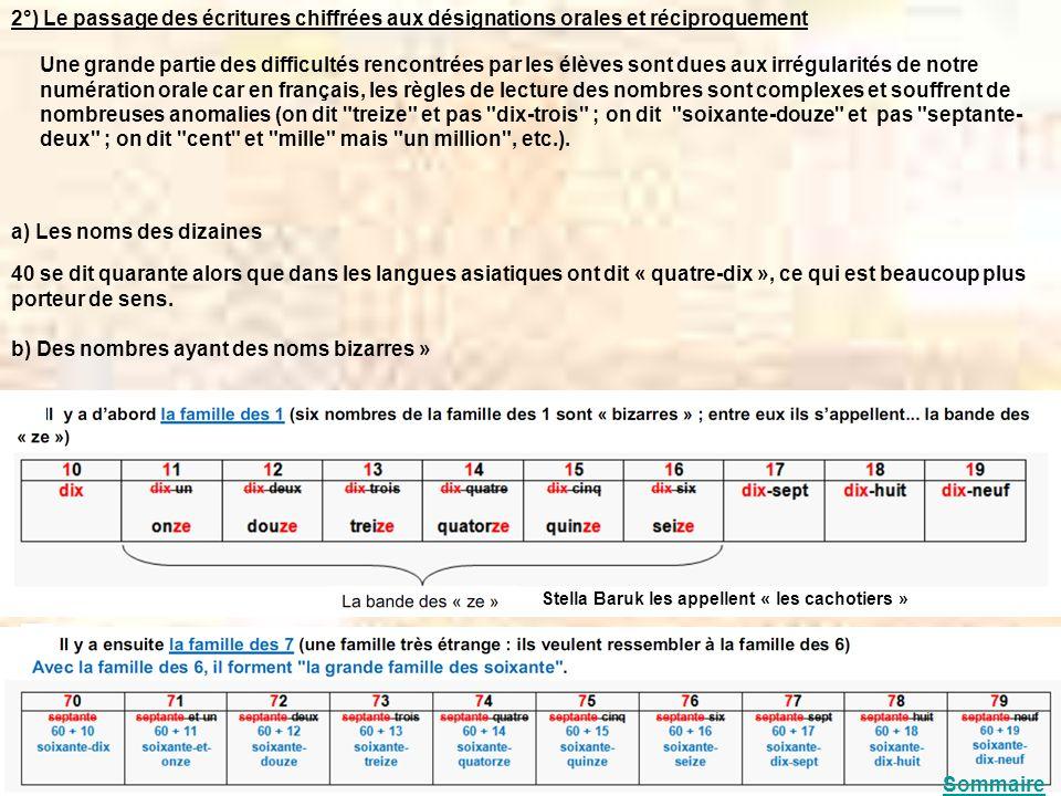 2°) Le passage des écritures chiffrées aux désignations orales et réciproquement Une grande partie des difficultés rencontrées par les élèves sont due