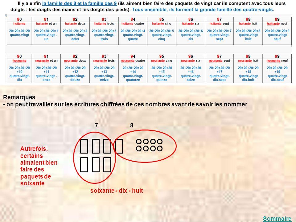 Remarques - on peut travailler sur les écritures chiffrées de ces nombres avant de savoir les nommer 7 8 soixante - dix - huit Autrefois, certains aim