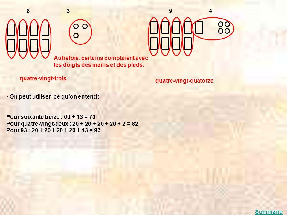 8 3 quatre-vingt-trois 9 4 quatre-vingt-quatorze - On peut utiliser ce quon entend : Pour soixante treize : 60 + 13 = 73 Pour quatre-vingt-deux : 20 +