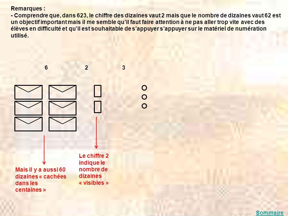 Remarques : - Comprendre que, dans 623, le chiffre des dizaines vaut 2 mais que le nombre de dizaines vaut 62 est un objectif important mais il me sem
