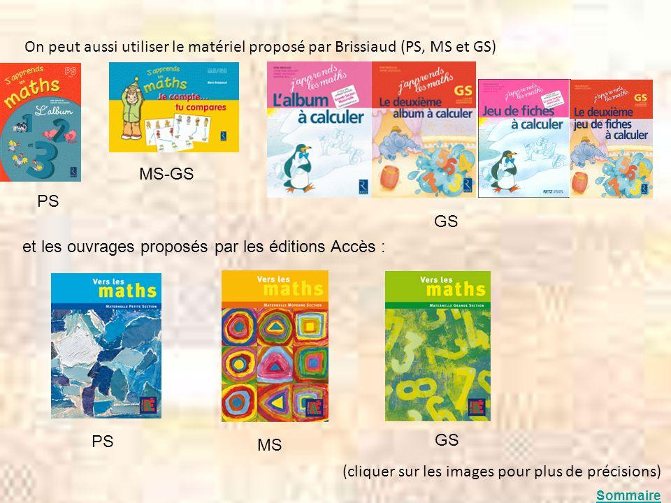 On peut aussi utiliser le matériel proposé par Brissiaud (PS, MS et GS) (cliquer sur les images pour plus de précisions) MS-GS GS PS et les ouvrages p