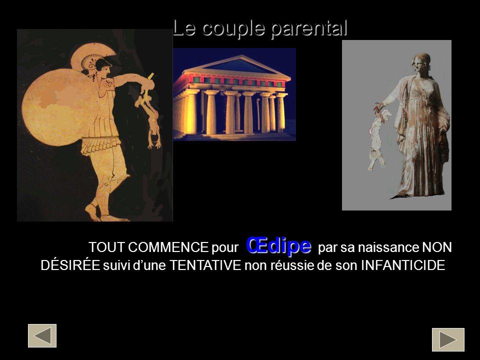 Le couple parental Œdipe TOUT COMMENCE pour Œdipe par sa naissance NON DÉSIRÉE suivi dune TENTATIVE non réussie de son INFANTICIDE