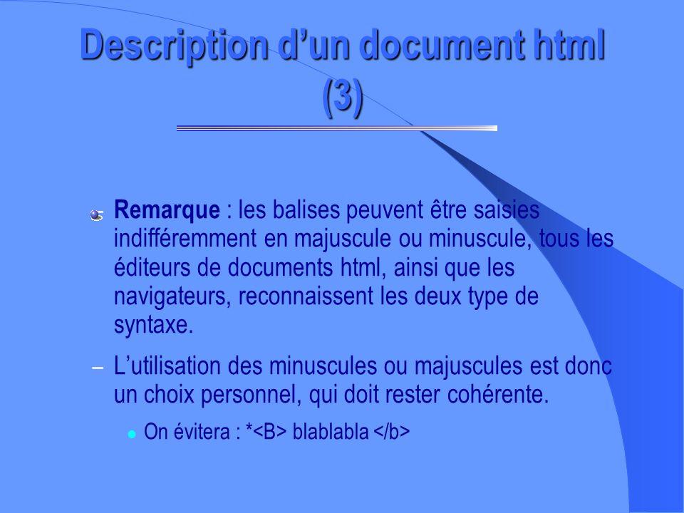 Description dun document html (2) – Ce langage de description de page utilise des tags - ou balises - pour spécifier la façon dont un élément doit app