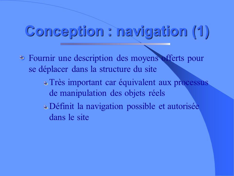 Conception : structure (1) Définir la structure et organisation générale des informations à représenter. – Principe récursif partant de la page d accu