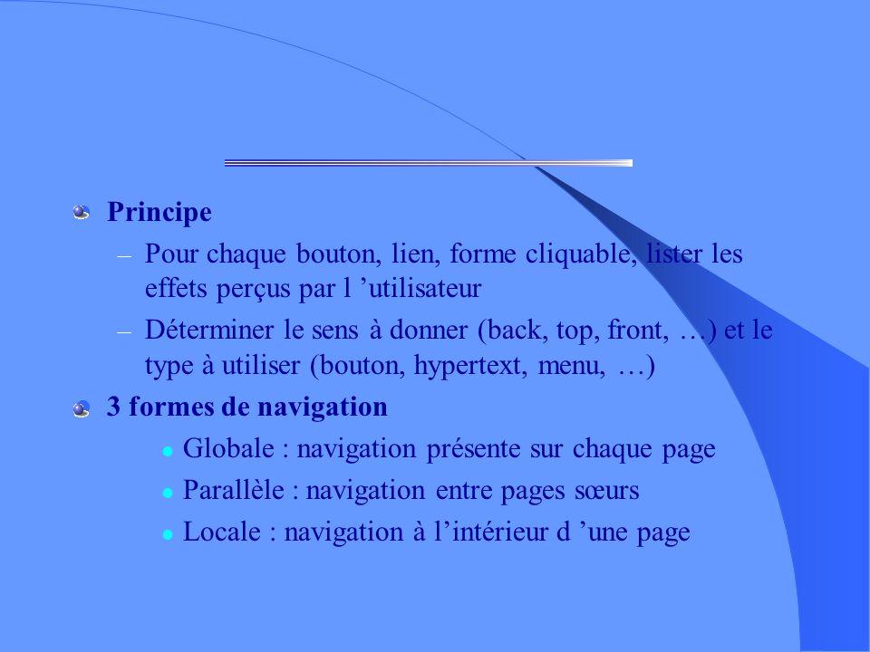 Conception : navigation (1) Fournir une description des moyens offerts pour se déplacer dans la structure du site Très important car équivalent aux pr