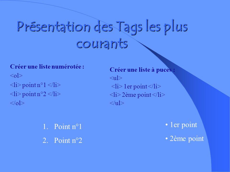 Présentation des Tags les plus courants gras italique souligné texte barré texte centré ( de même ) Titre de niveau 1 (il existe 6 niveaux, 6 étant le