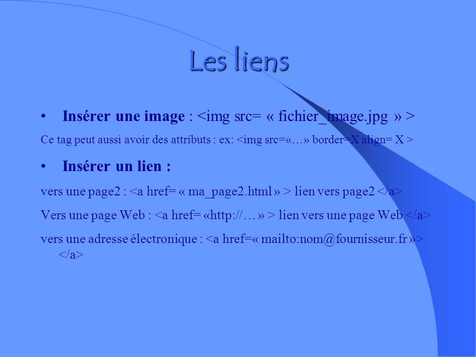 Les liens dits relatifs Les liens permettent de passer dune page à une autre si celles ci se situent dans le même dossier. Avant de concevoir les lien