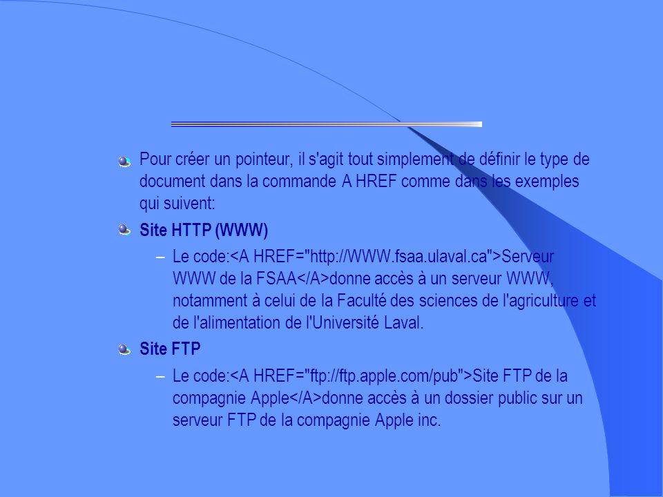 Les liens Pour insérer un pointeur (lien hypertexte-hypermédia), il faut indiquer une référence (appelée URL pour Uniform Ressource Locator) et un élé