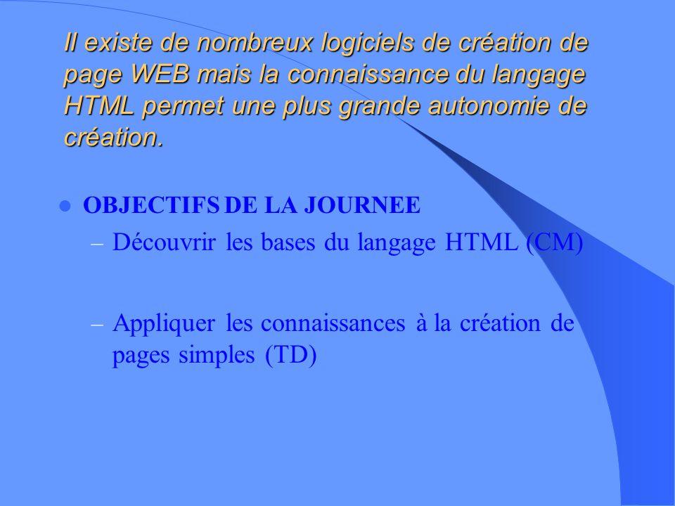 Création dune page WEB Prévoir la disposition du contenu Prévoir les différents liens possibles entre les pages Connaître les bases du langage HTML