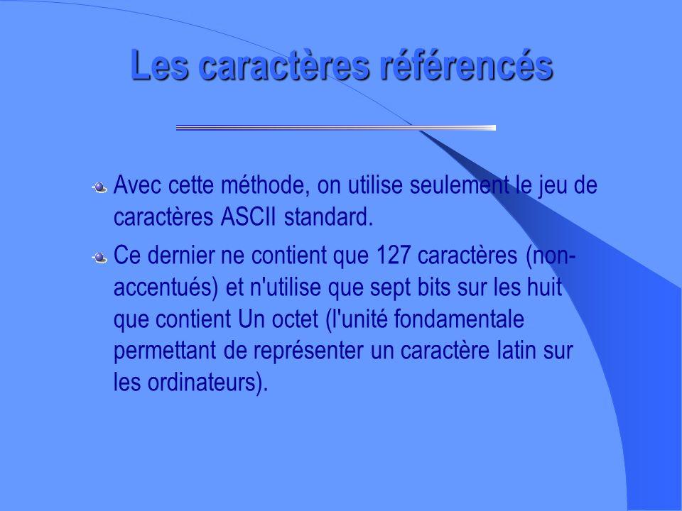 À propos des accents... – L'utilisation des caractères accentués sur le WWW pose un certain nombre de problèmes car il y a plusieurs façons de traiter