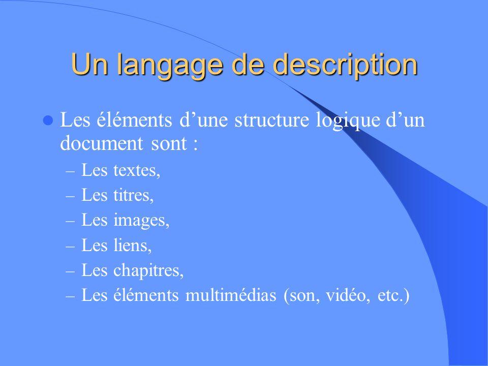 Introduction Le langage HTML (HyperText Markup Language) Cest un langage de description (ou de formatage) de Documents. Ce nest pas un véritable langa