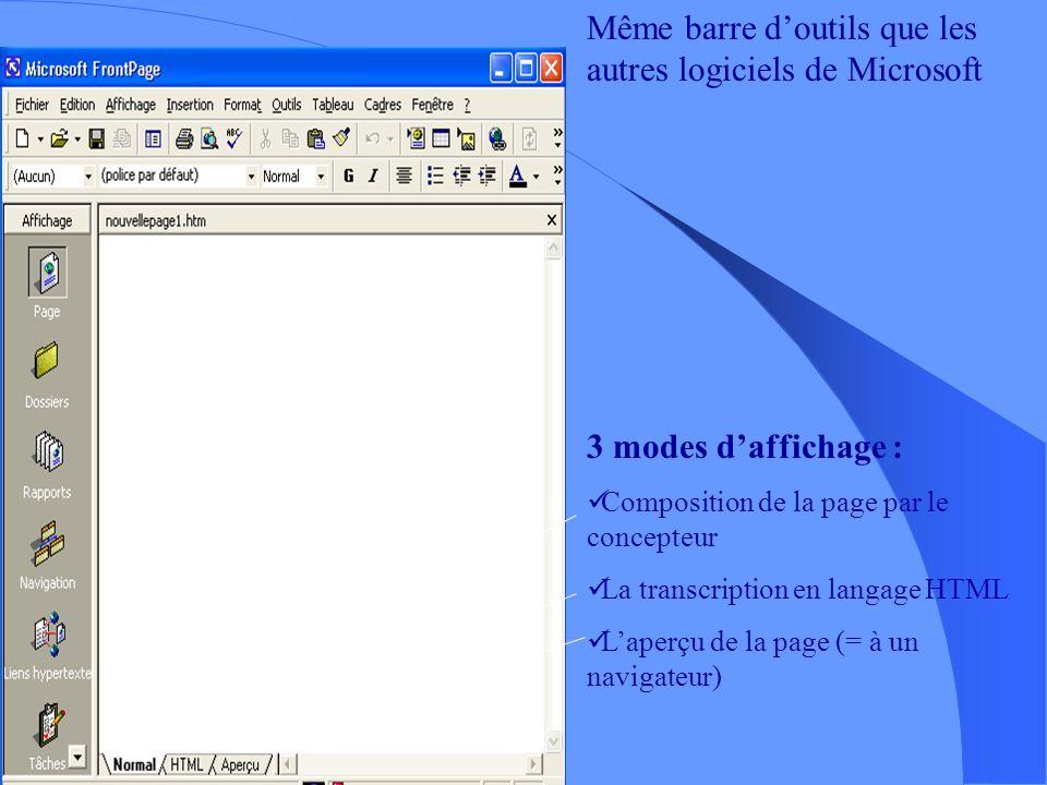 Front Page Front Page est un éditeur HTML intégré au pack office de Microsoft. Très grande comptabilité avec le navigateur Internet Explorer Interface