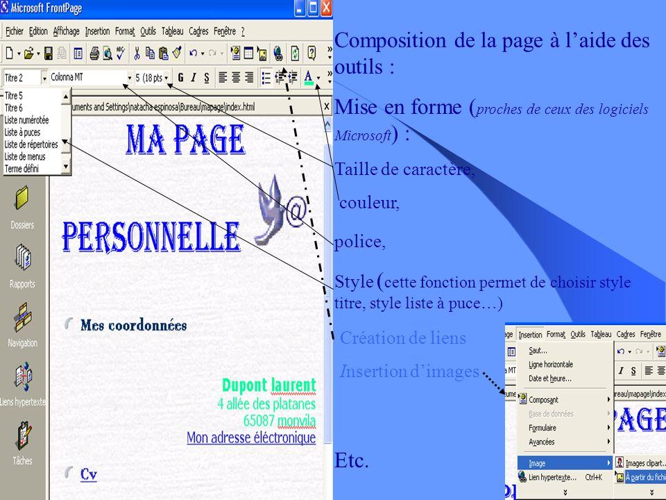 Même barre doutils que les autres logiciels de Microsoft 3 modes daffichage : Composition de la page par le concepteur La transcription en langage HTM