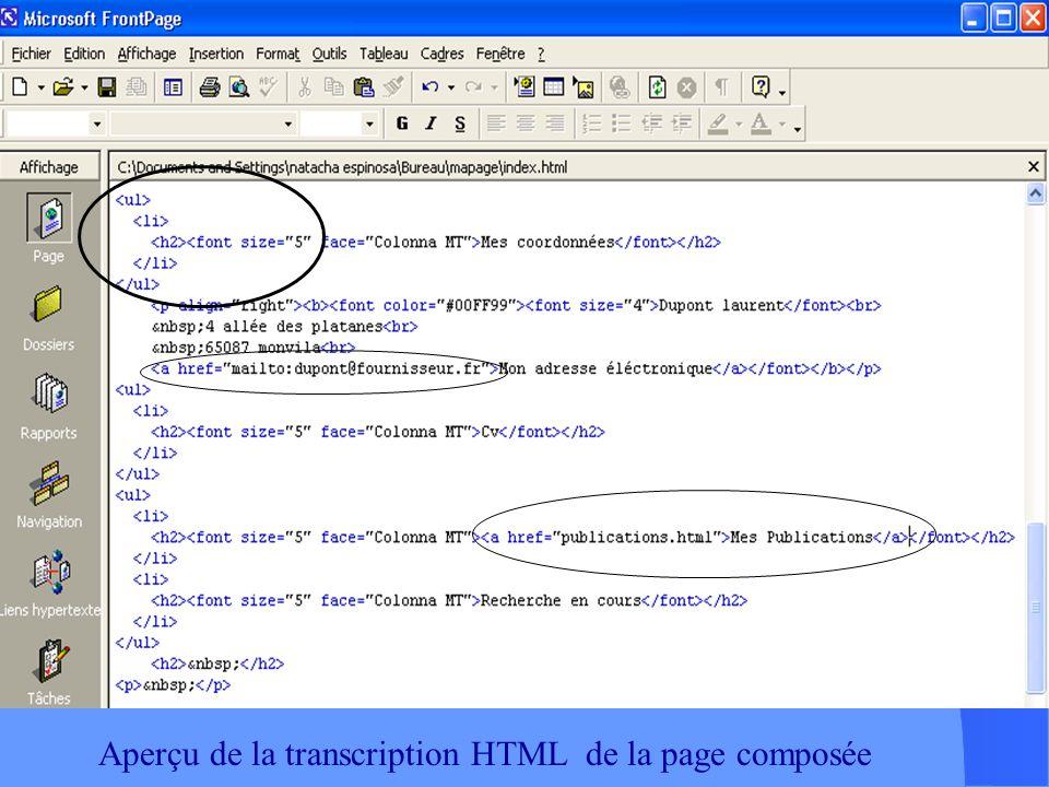 Composition de la page à laide des outils : Mise en forme ( proches de ceux des logiciels Microsoft ) : Taille de caractère, couleur, police, Style (