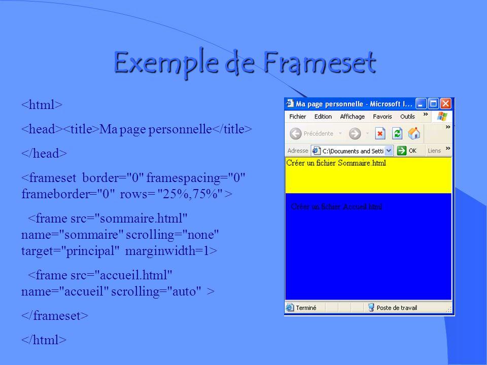 Créer des Frames Les Frames permettent de diviser la zone daffichage du navigateur en plusieurs zones de données indépendantes les unes des autres. (u