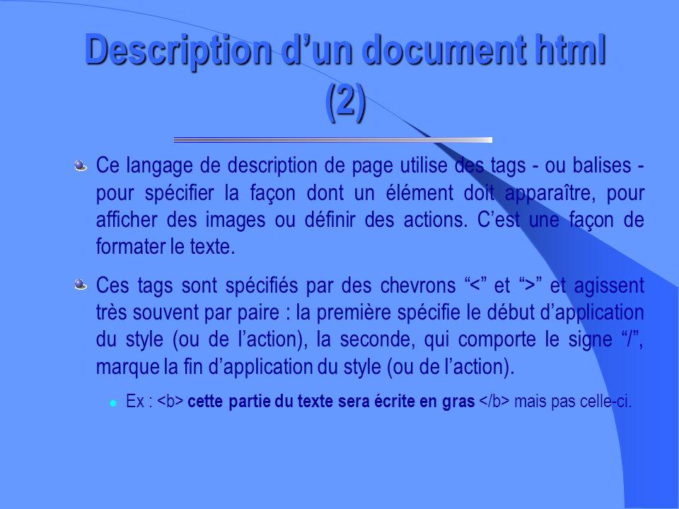 Description dun document html (1) – HTML est un langage permettant de mettre en forme du texte, des images, du sons, etc. (la liste sallonge presque t